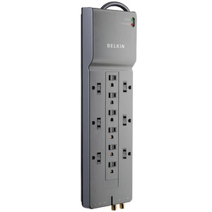 12-OUTLET HOME/OFFICE SURGE PROTECTOR WITH COAXIAL/TELEPHONE/MODEM PROTECTION - BE112230-08 - BELKIN