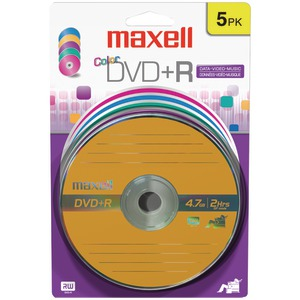 4.7 GB DVD+RS (5 PK; COLOR CARDED) - 639031 - MAXELL