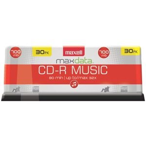MUSIC CD-RS (30-CT SPINDLE) - 625335 - MAXELL