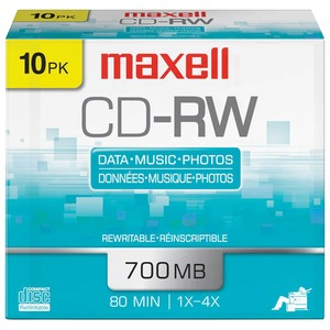 80-MINUTE/700 MB CD-RWS (10 PK WITH JEWEL CASES) - 630011 - MAXELL