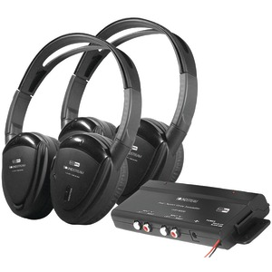 2 SWIVEL EAR PAD, 2-CHANNEL RF 900 MHZ WIRELESS HEADPHONES WITH TRANSMITTER - HP-902RFT - POWER ACOUSTIK