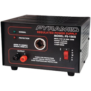 10-AMP, 13.8-VOLT POWER SUPPLY WITH CIGARETTE LIGHTER ADAPTER - PS15KX - PYRAMID