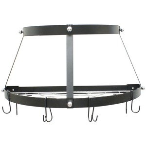 TWO SHELF, WALL-MOUNT POT RACK (BLACK) - CW6002R - RANGE KLEEN