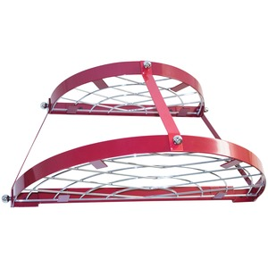 TWO SHELF, WALL-MOUNT POT RACK (RED) - CW6003R - RANGE KLEEN
