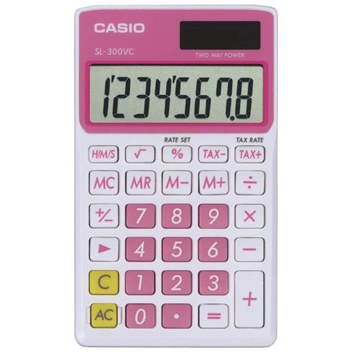 Casio Sl300vcpksih Solar Wallet Calculator With 8-digit Display (pink) at Sears.com